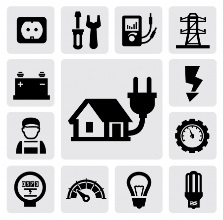electric meter: electricity icons Illustration