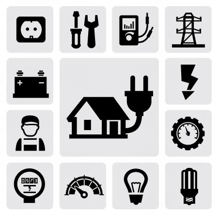 prise de courant: ic�nes d'�lectricit� Illustration