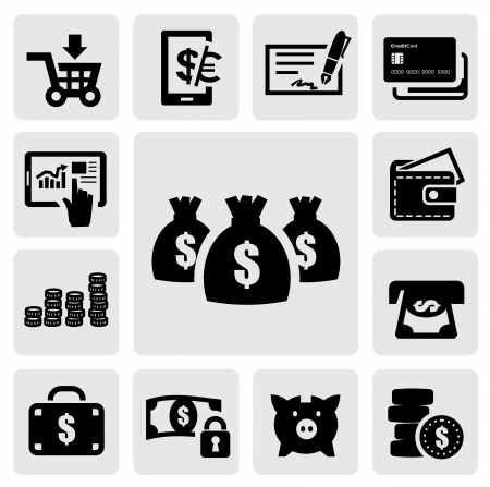hand with a bag of money: Finance Icons Illustration