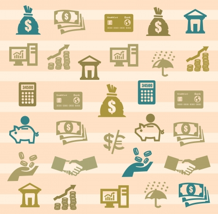 bank rate: Finance Icons Illustration