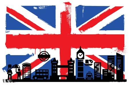 londres autobus: Bandera del Reino Unido y siluetas