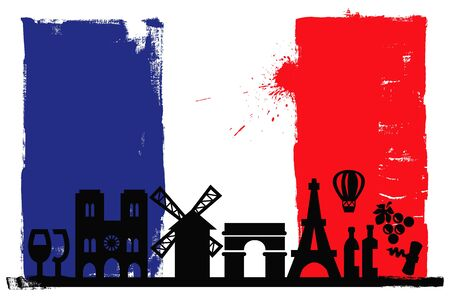 France flag and silhouettes Vector