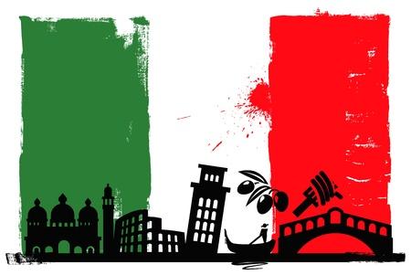rome italie: Drapeau de l'Italie et silhouettes
