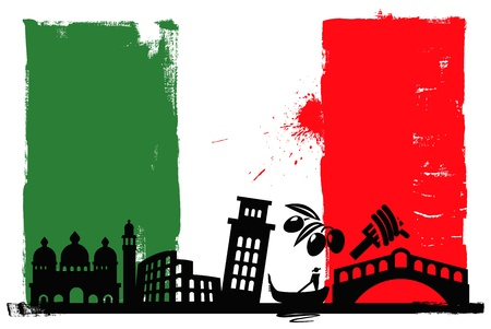 italy: Italy flag and silhouettes