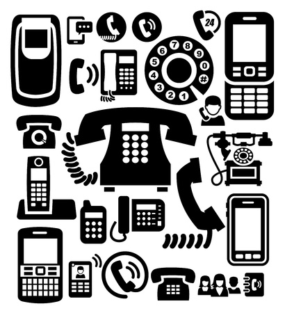 old telephone: phone icons