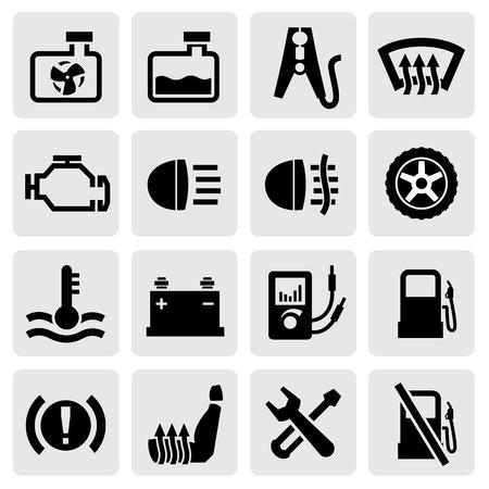 salpicadero y auto iconos