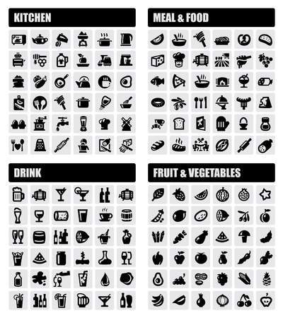 cooking: beverage, food, kitchen icons