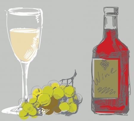 wine making: grape and wine  Illustration