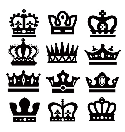 crown silhouette: corone nere Vettoriali