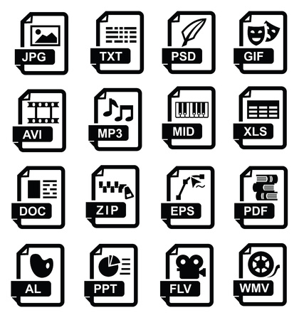 file extension icons Stock Vector - 17342163