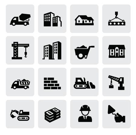 camion grua: Iconos de la construcción Vectores