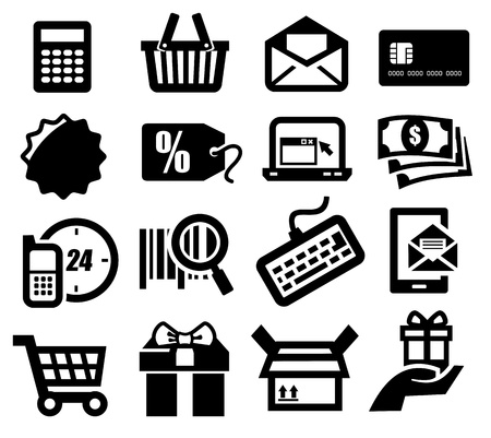 bank account: shopping icons