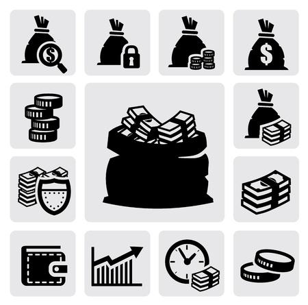 Iconos de dinero Ilustración de vector