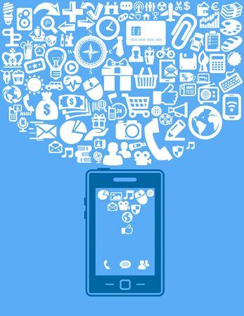 computer program: smartphone with application Illustration