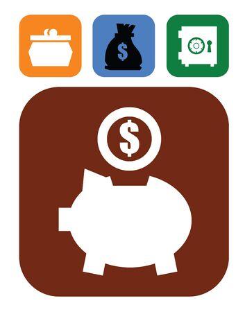 piggy bank and money Stock Vector - 17525001