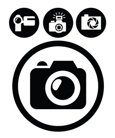 digital camera: camera icons Illustration