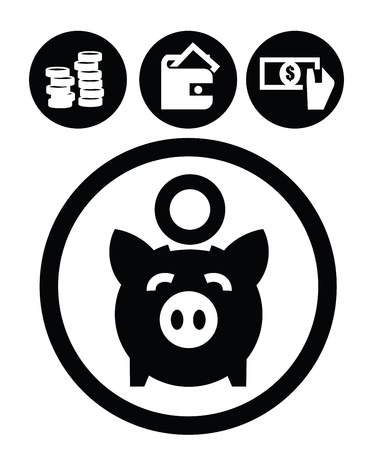 piggy bank: education icons Illustration