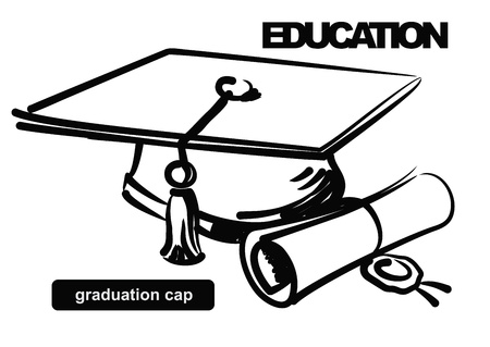mortero: ilustración del casquillo de la graduación Vectores