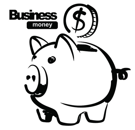 doodle art clipart: illustration of piggy bank Illustration