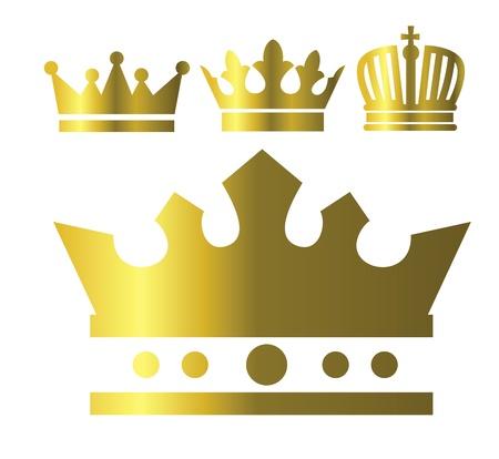 crown silhouette: corona icone Vettoriali