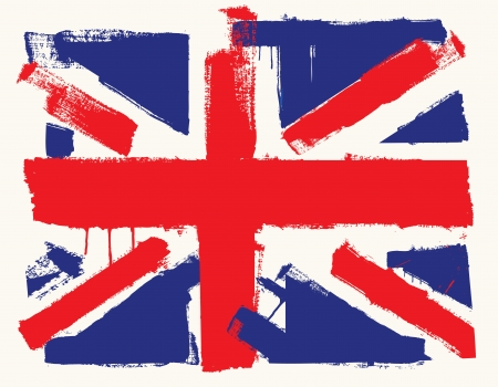 grunge union jack: UK paint flag Illustration