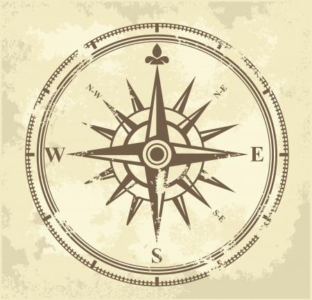 kompassrose: Jahrgang Kompass Illustration