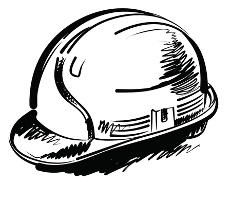 construction helmet: trowel and brick