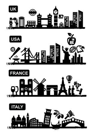 united kingdom: travel icons