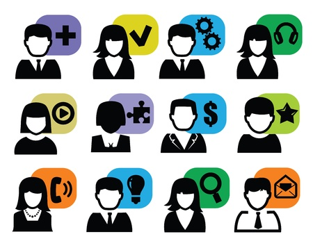 black lady talking: people icons Illustration