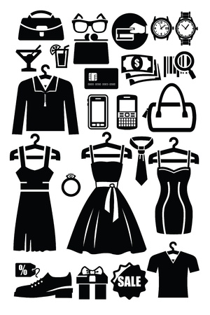clothing shop: tienda de ropa icono Vectores
