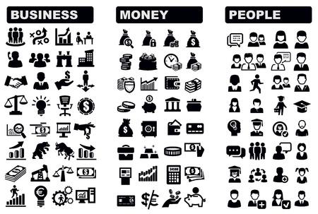 economie: bedrijfsleven, geld en mensen pictogram Stock Illustratie