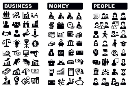 financial strategy: business, money and people icon