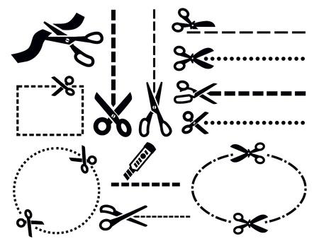 scissors cutting paper: scissors icons