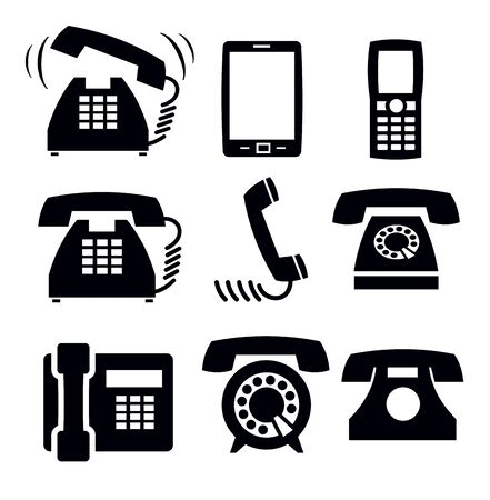 black phone and call: phone icons