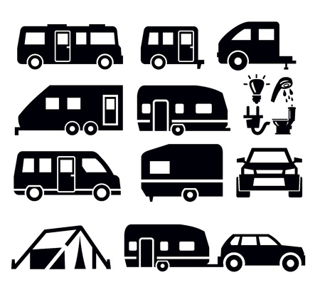 camper van icons Stock Vector - 18282319