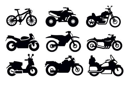 silueta moto: motocicletas y bicicletas Vectores
