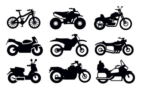 motorbike race: motorcycles and bicycles