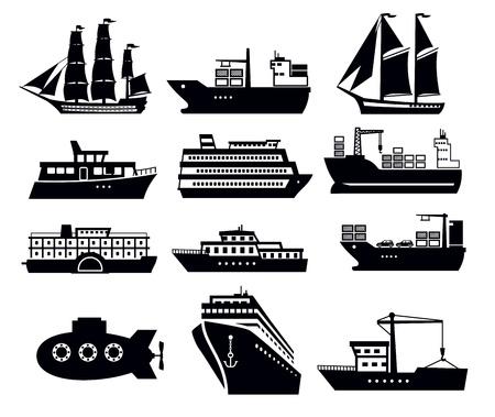 boot en schip Vector Illustratie