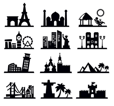 travel and landmarks icons Vector