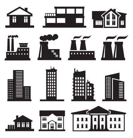 небоскребы: здания и заводы Иллюстрация
