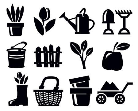cultivating: Iconos de jardiner�a Vectores