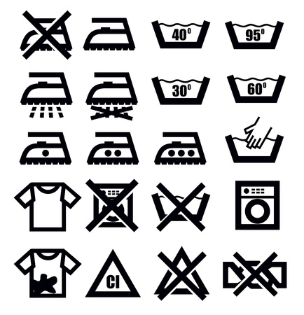 washing signs and clothes Stock Vector - 18847091