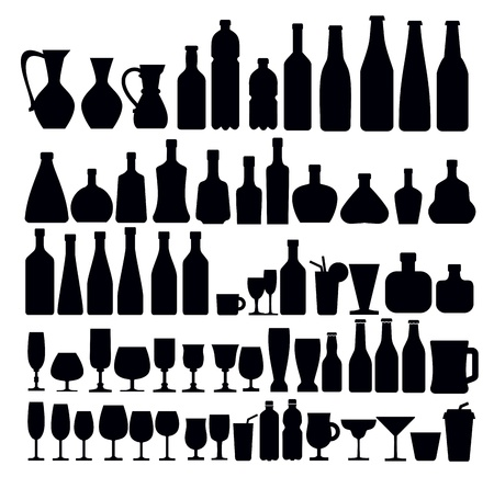 beverage and glass icons Vector
