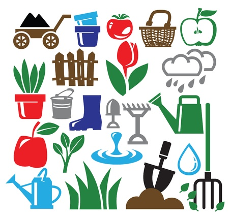 gardening icons Stock Vector - 19046835