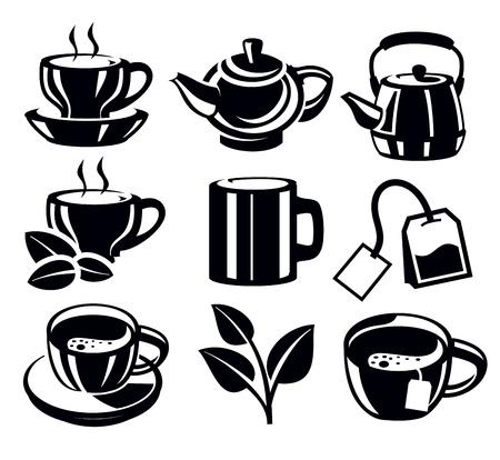 teabag: tea icons Illustration