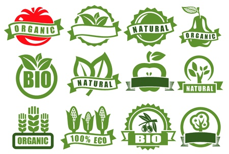 nutrition label: green emblems of eco