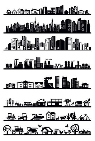 미드 타운: 주택 및 도시 아이콘 일러스트