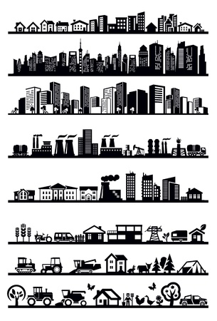city skyline night: houses and city icons Illustration
