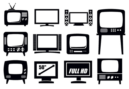 tv station: retro and modern tv icons