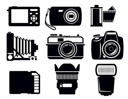 vintage camera: photo icons Illustration